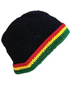 Hand Made Cotton Fold up Brim Hat Rasta Reggae Black Toboggan Winter Ski Beanie Cap