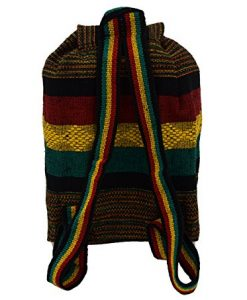 No Bad Days Baja Backpack Ethnic Woven Mexican Bag - Rasta Fat Stripes