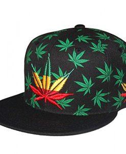 Marijuana Pot Leaf Weed Cannabis 420 Embroidered Flat Bill Snap Back Cap Black Rasta
