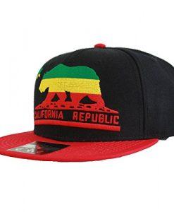 California Republic Embroidered Bear Flag Flat Bill Snapback Hat - Rasta Colors