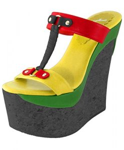 Rasta Shoes Cork Wedge Rasta colors