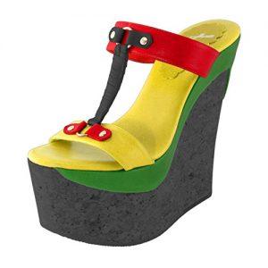 Rasta Shoes Cork Wedge Rasta colors