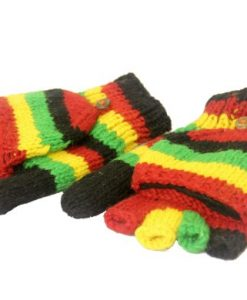 KayJayStyles Rasta Color Hand Knit 100% Wool Convertible Fingerless Mittens Nepal