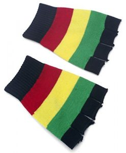 Rasta Fingerless Gloves (Peace Sign) & Hair Clips (2 Different Kinds)