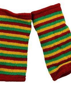 RW Hand Knit 100% Wool Fleece Lined Hand Warmer Rasta Glove