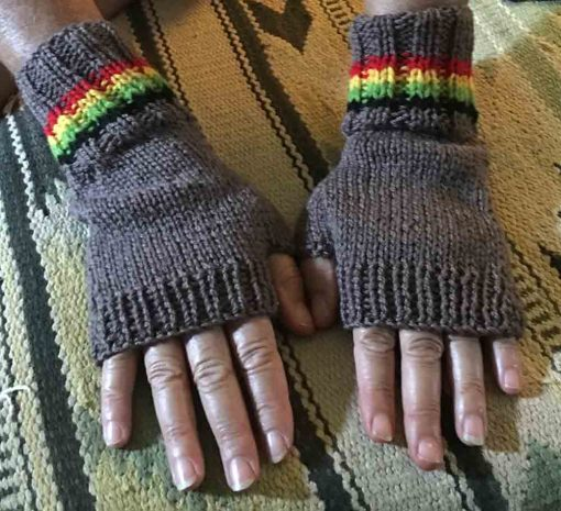 natural pure wool hand knitted fingerless gloves in the rasta colors