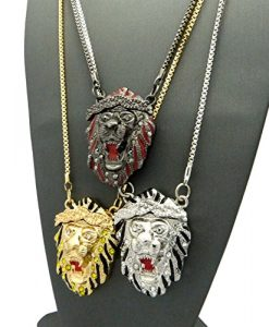 "Iced Out Triple Rappers' Roaring Lion Head Pendant w/ 2mm 30"" Box Chain Necklaces in Multicolors"