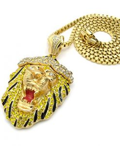 "Two Tone Iced Out Roaring Lion Hip-Hop Pendant w/ 4mm 36"" Gold-Tone Chain Necklace"