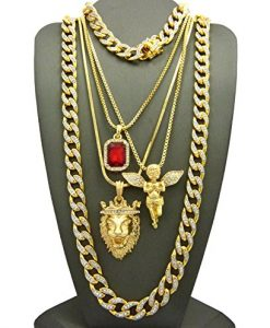 Ruby Red Stone, Praying Angel, King Lion Pendant w/ Gold Plated Cubic Zirconia Stone Chain & Bracelet Set