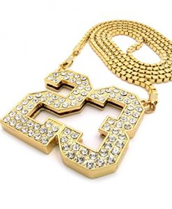 "Number 23 Iced Out Pendant w/ 4mm 36"" Box Chain Necklace"