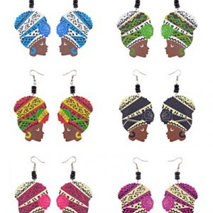 Wooden Flower Colored Turban African Woman Head and Bead Dangle Hook Earrings 6 Piece Set