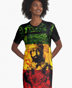 Rasta Dress long t-shirt graphic style Haile Selassie Design Rasta Seed