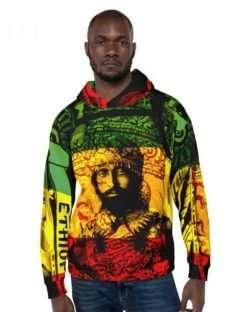Natural Mystic Hoodie Haile Selassie Rasta Design at rastaseed.com