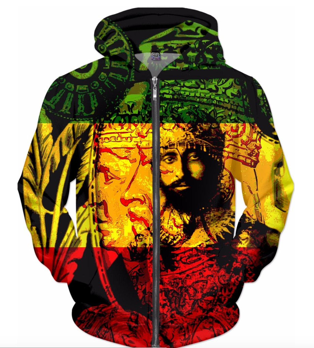 421c3165a46a8 Rasta Hoodie Haile Selassie Natural Mystic All Over Print
