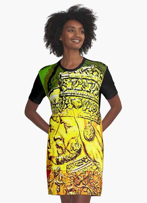 Haile Selassie Dress Empress Menen Design on many products. Rasta merchandise at rastaseed.com