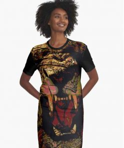 Jah Lion Dress Graphic allover print design. African inspired rastafarian design. Rasta Seed Merchandise and Clothing