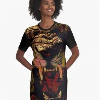 Jah Lion Dress Graphic allover print design. African inspired rastafarian design. Rasta Seed Merchandise and Clothing