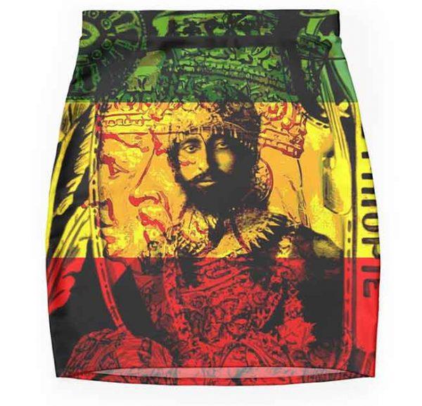 Rasta skirt pencil mini natural mystic design Rastaseed.com