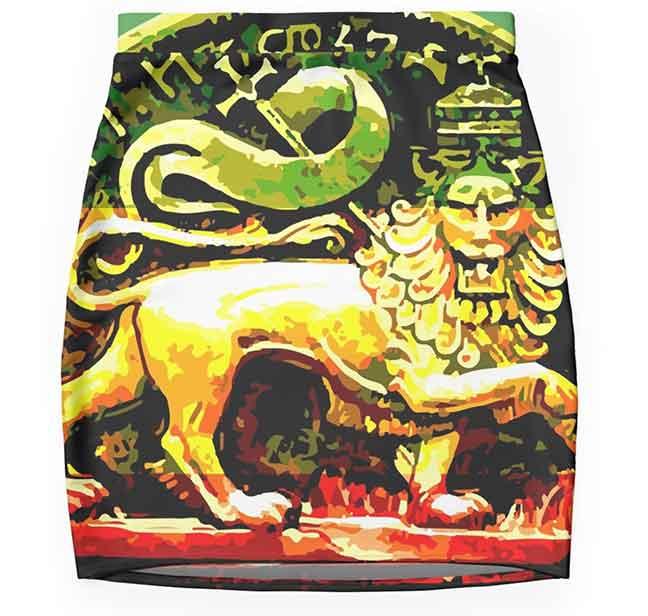 Jah Rastafari Skirt Ancient Lion of Judah Design. Rasta merchandise on clothing, homewares and technology products.