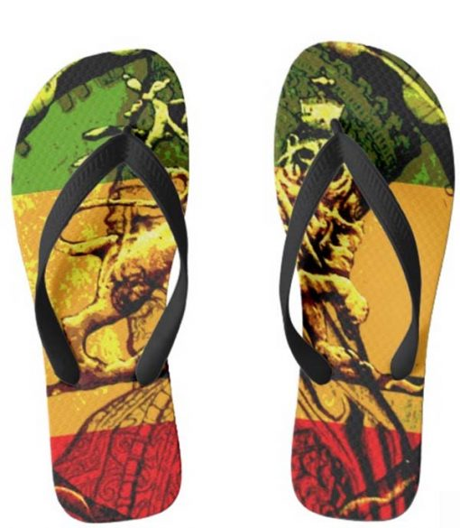 Lion of Judah Flip Flops Rasta Shoes rastaseed and rastagearshop.com