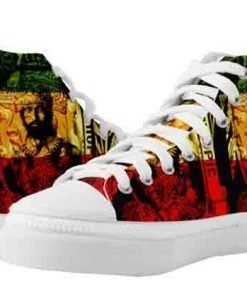 Haile Selassie Natural Mystic High top Rasta Shoes. Rastagearshop merchandise clothing shoes and homewares.