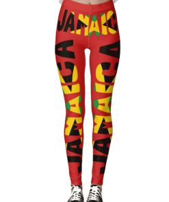 Jamaican Flag Red Leggings Rastaseed Rastafarian Reggae Merchandise Clothing and Shoes