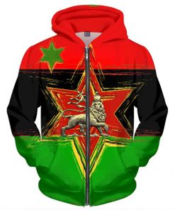 African American Hoodie Rasta seed. Lion of Judah Star design.
