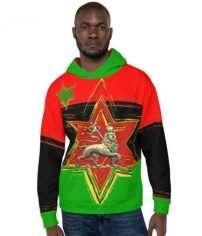African Amercian Lion Hoodie at Rastaseed. Rastagearshop original clothing.