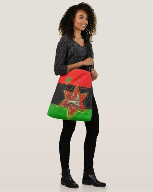 Pan African Bag African American Flag originally designed by Marcus Garvey. All over print large crossbody bag at Rasta seed rastafarian merchandise clothing and accessories