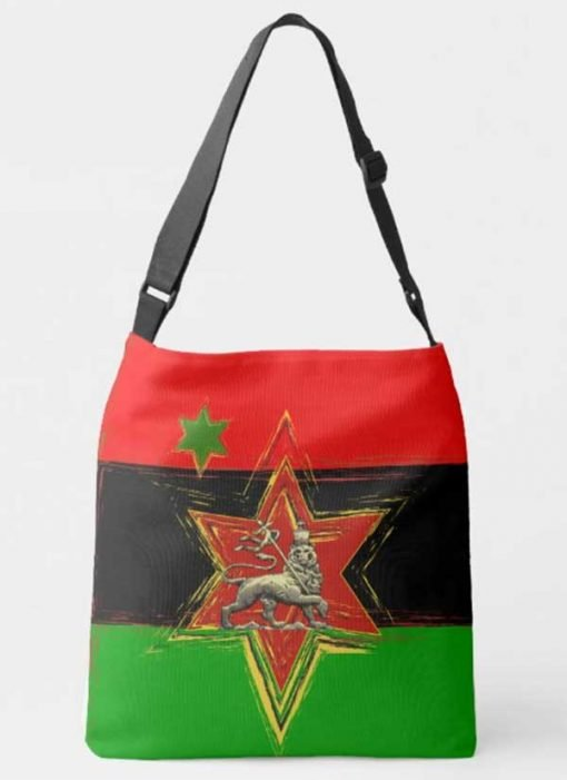 Pan African Bag Afro American Flag originally designed by Marcus Garvey. All over print large crossbody bag at Rasta seed rastafarian merchandise clothing and accessories