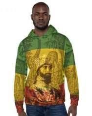 Haile Selassie Hoodie African Rasta style rastagearshop designs and merchandise