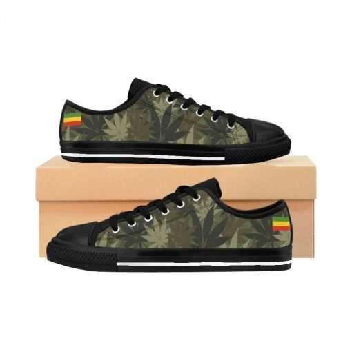 Hemp Camouflage sneakers. Cannabis sativa pattern with Rasta colors. Rastaseed original jamaican Reggae merchandise clothing and shoes.