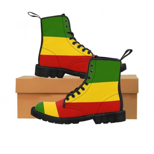 Rasta boots Men's Rastafarian colors at Rastaseed.com. Jamaican Reggae Shop