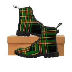 Rasta Tartan boots at Rastaseed.com. Black, red, gold and green colors. Rastaseed original Rastafarian merchandise.