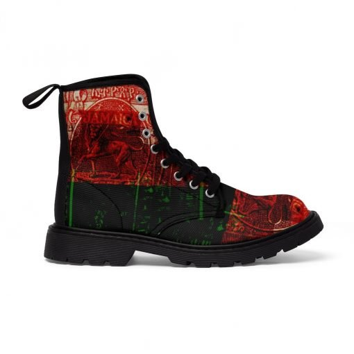Marcus Garvey Revolutionary Boots in Pan African Afro American colors. Jamaican Freedom fighter at Rastaseed.com Jamaican merchandise.