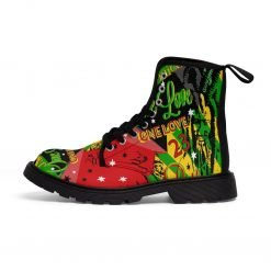 One Love Reggae Party Boots in the Rasta colors. Jamaican and Rastafarian symbology at Rastaseed clothing merchandise and shoes.