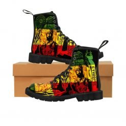 Haile Selassie Boots in red gold green design. Rasta seed original Rasta merchandise, gideon boots and clothing shop.