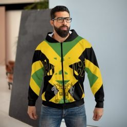 Jamaican One Love Hoodie with Coat of Arms and Jamaica on the front and one love on the back. Jamaican flag design and colors at Rastaseed.