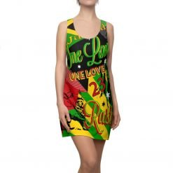Reggae Rasta Party Racerback Dress in vibrant all over print design. Rasta colors and Reggae Jamaican symbology on this fun party dress.