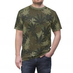 Hemp Leaf Camo T-shirt. Vivid all over print khaki hemp camouflage design at Rastaseed.com. Original Rasta, hemp and Reggae gear.