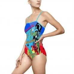 One Love Reggae Party Swimsuit with keyhole back. in beautiful blue colors. Fun design original from Rastagearshop.com.