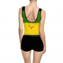Jamaican Lion Vintage Swimsuit with Lion of Judah Design. Rastagearshop original one piece swimmers design.