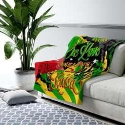 Rasta Reggae Party Sherpa Fleece Blanket in vivid all over print design at Rastaseed Jamaican Reggae and Rastafarian merchandise.