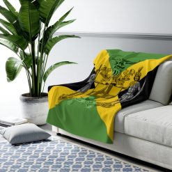 Jamaican Sherpa Fleece Blanket in vivid all over print design. Jamaican Flag with Coat of Arms Out of Many One People.
