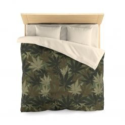 Hemp Leaf Camo Microfiber Duvet Cover in muted khaki colors all over print design. Hemp Leaf Camouflage in the bedroom from Rastaseed.com