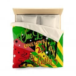 Rasta Reggae Party Microfiber Duvet Cover in vivid all over print red gold green and black design with Jamaican Reggae symbology.