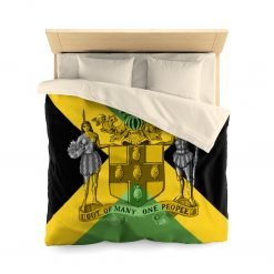 Jamaican Microfiber Duvet Cover in vivid all over print design. Jamaican flag design with coat of arms, out of many one people at Rastaseed.