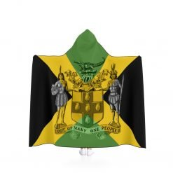 Jamaican Hooded Blanket in vivid all over print design with Jamaican colors and coat of arms out of many one people. Rastaseed merchandise.