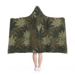 Hemp Leaf Camo Hooded Blanket in muted khaki all over print hemp leaf camouflage design. Warm and cosy wrap blanket from Rastaseed.com