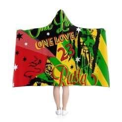 Rasta Reggae Party Hooded Blanket in vivid all over print red gold green and black design at Rastaseed Jamaican Reggae Rasta Merchandise.